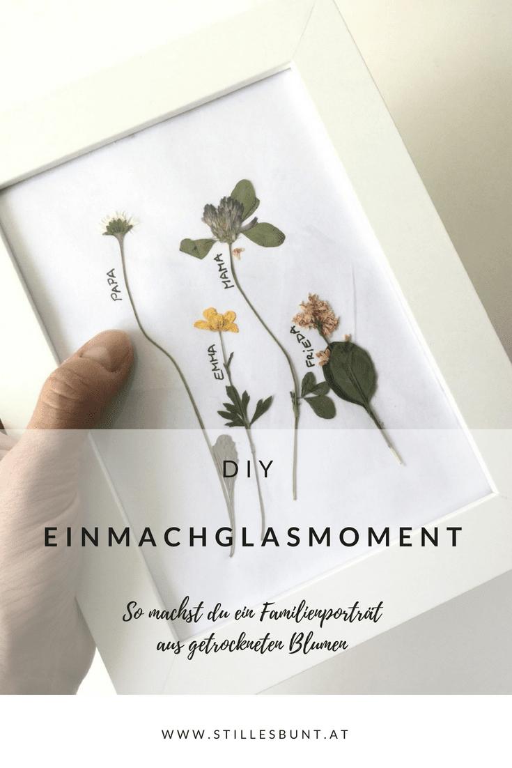 DIY Einmachglas Moment, Blumenbild, Familienporträt aus getrockneten Blumen