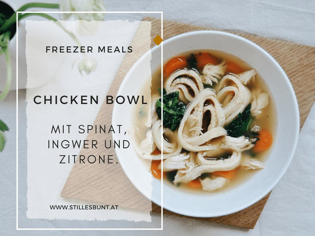 Freezer Meals, Kräftige Hühnersuppe mit Ingwer und Zitrone