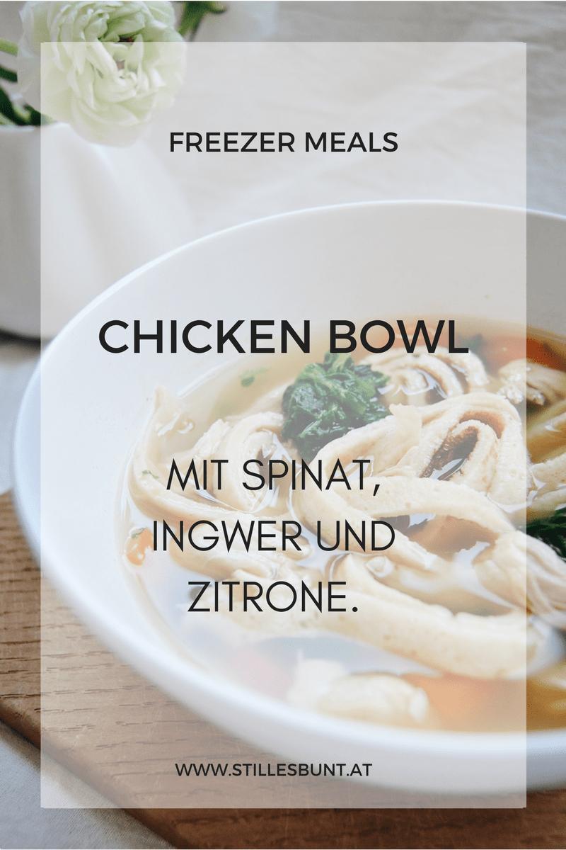 Freezer Meals Kräftige Hühnersuppe mit Ingwer und Zitrone