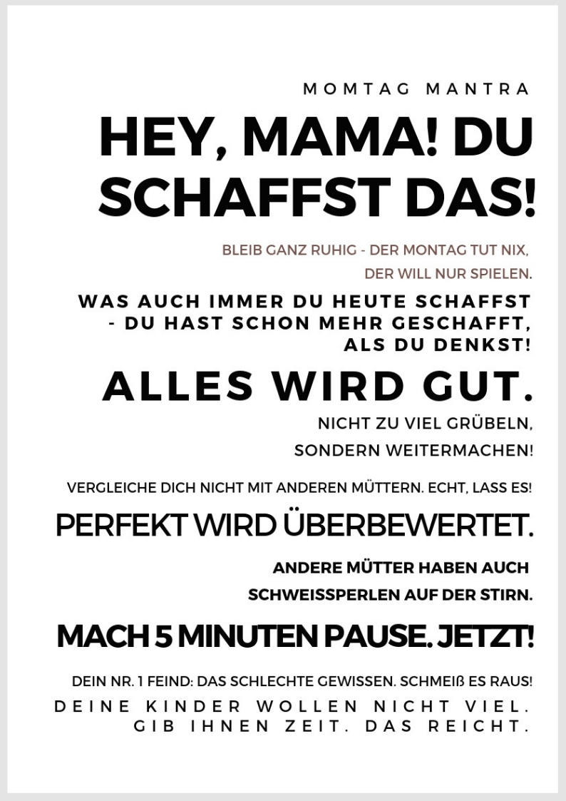 Druckvorlage Plakat Mama Motivation